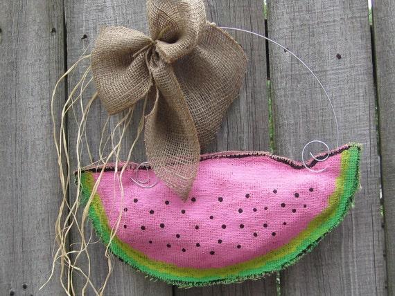 Watermelon Burlap Door Hanger