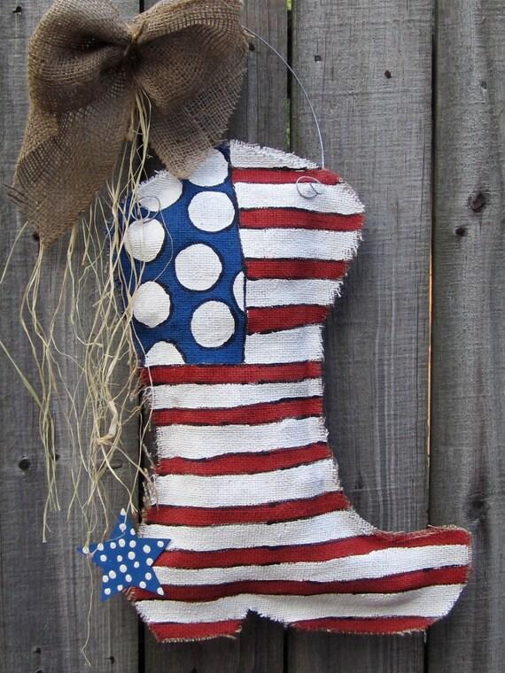 Burlap Cowboy Boot Burlap Door Hanger American Flag