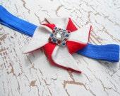 Fourth of July headband felt pinwheel with rhinestone red white and blue