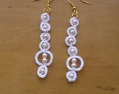 Handmade Tatted White Ring Earrings with Pearls
