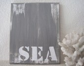 One Of A Kind Seaside Subway Sign 'Sea' Original Painting in Grey And White Acrylic On Canvas Beach Home Decor