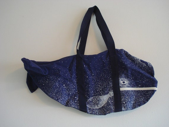 Unique Kitchy Large Blue Whale Shaped Tote Bag Purse