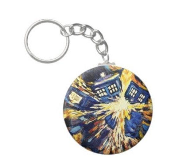 Van Gogh Tardis Key Chain