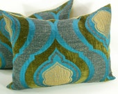 Turquoise Velvet pillow cover - 14 x 18