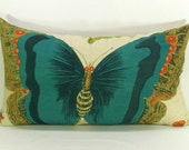 Insect No. 1 teal butterfly pillow cover - 14 x 24