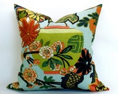 Pair of TWO Schumacher Chiang Mai Dragon pillow covers in Aquamarine - 22 x 22