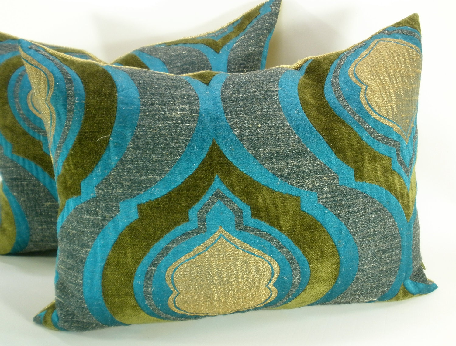 Throw Pillow Turquoise : Turquoise Velvet Peacock pillow cover 12 x 16