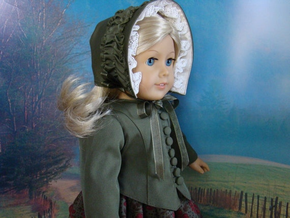 1850's dress with fitted jacket and bonnet for American Girl or similar 18 inch doll.