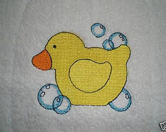 3 Piece Embroidered Rubber Duck (Ducky) Bath Towel Set - Personalized