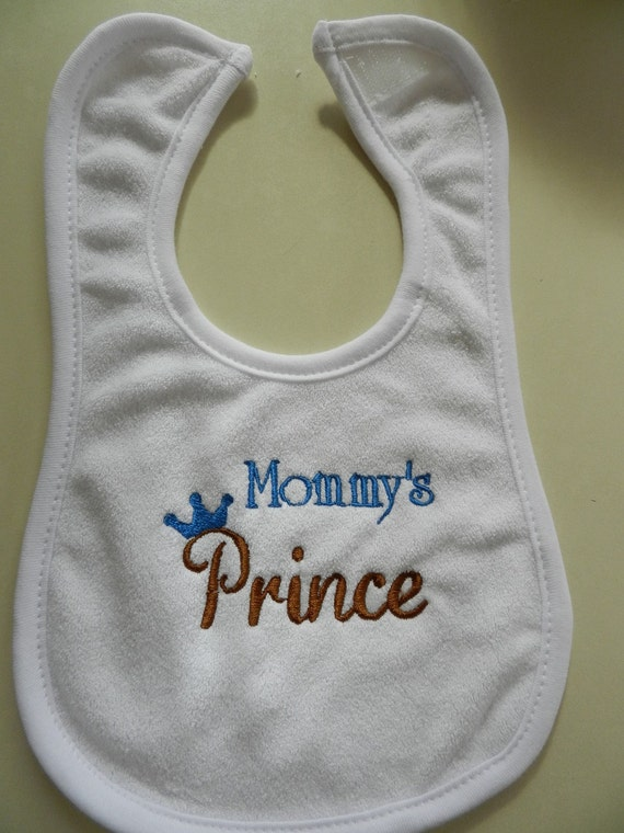 Embroidered Mommy's Prince white bib