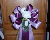 10 Lavender Dark Purple White Rose Pew Bows Wedding Decorations Bridal