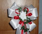 10 WHITE RED Rose Pew Bows Wedding Decorations Bridal