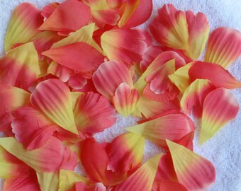 200 Silk Rose Petals CORAL YELLOW Wedding Flower Decorations Party Decorations Bridal