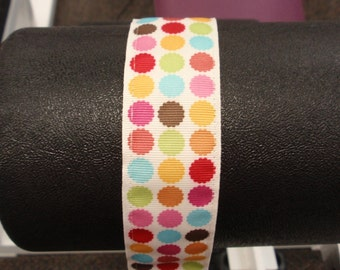Unique Handmade Workout Headband Sweat Headbands Wide COLORFUL DOTS- No Slipping, Sliding, or Discomfort