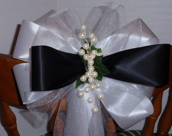 10 White Black Pearl Pearls Tuxedo Black Tie Pew Bows Wedding Decorations Bridal