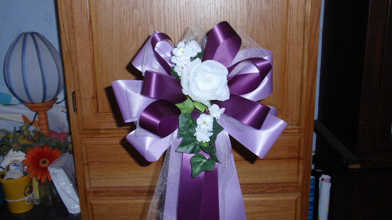 10 Lavender Dark Purple White Rose Pew Bows Wedding