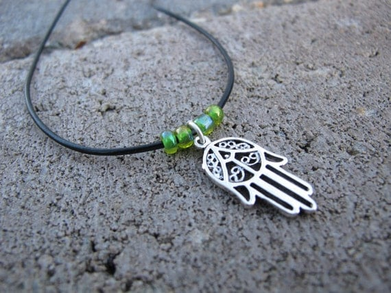 Hamsa Pendant on Leather Cord Necklace