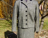 Vintage 1950s Black and White Suit with Black velvet collar