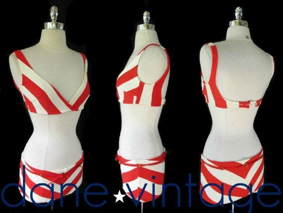 Vtg 60s MOD Bombshell Space Age HIPSTER Striped PinUP Swim Bathing Suit Bikini S