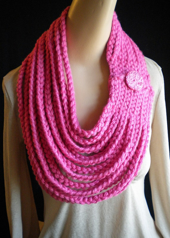 Pink Chain Scarf Neckwarmer Necklace with Handmade Button Closure Crochet