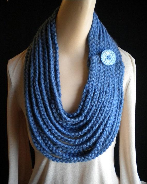 Denim Blue Chain Scarf Neckwarmer Necklace with Handmade Button Crochet