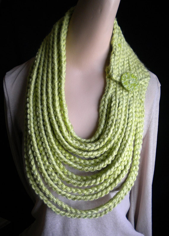Lime Green Chain Scarf Neckwarmer Necklace with Handmade Button Crochet