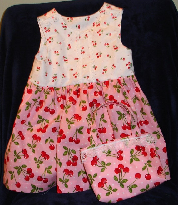 Toddler Pink Cherry Print Dress with Matching Purse Size 2T