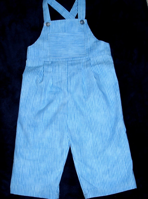 Blue Striped Overalls with Pocket - Toddler Boy or Girl Size 2T