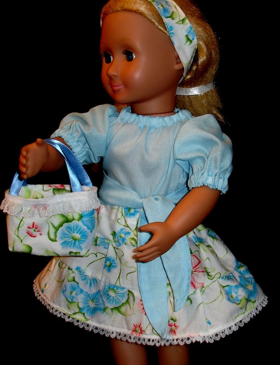 Doll Clothes - Floral 3 Tiered Skirt & Peasant Blouse with Matching Headband,  Belt and Purse Fits American Girl or Similar 18 Inch Doll