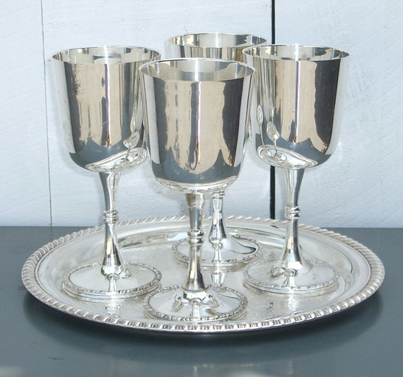4 Silver Goblets Silver Plate