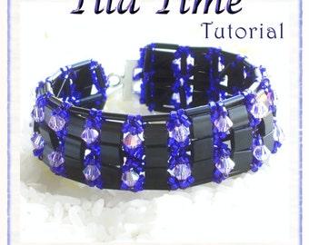 Beaded Bracelet Tutorial / Pattern: Tila Time - wide cuff style bracelet  - Instant Download PDF