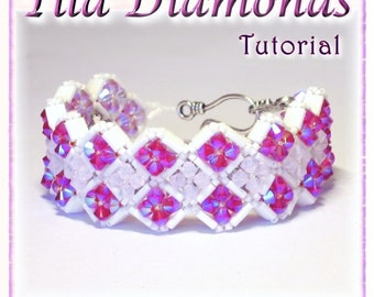 "Bracelet TUTORIAL:  Tila - Swarovski crystal reversible bracelet ""Tila Diamonds"" (Instant Download PDF)"