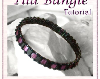Bangle Tutorial: Tila Bangle - Bead woven Narrow  Bracelet - INSTANT DOWNLOAD PDF