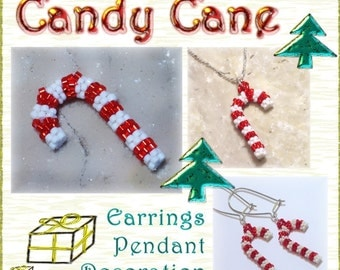 Beaded 3D Candy Cane tutorial  / Pattern (Instant Download PDF)