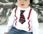 King of Hearts- Long Sleeve Boys Tie/Suspender Shirt VALENTINE'S DAY