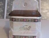 Pearlized Hanging Salt Box 1920s Czechoslavakia Lustreware