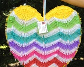 Heart Pinata.  Chevron Pattern.  Rainbow Colors.  Wedding Pinata.  Wedding Decor.  Bridal Shower Activity. Bachelorette Party.