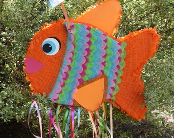 Fish Pinata. Orange Fish Pinata.  Rainbow Fish Pinata