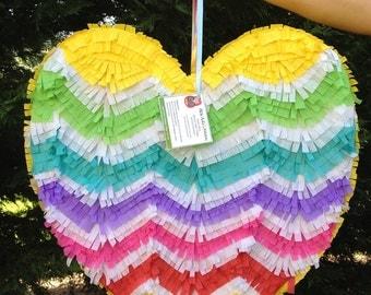Heart Pinata.  Chevron Pattern.  Rainbow Colors.  Wedding Pinata.  Wedding Decor.  Bridal Shower Activity. Bachelorette Party.