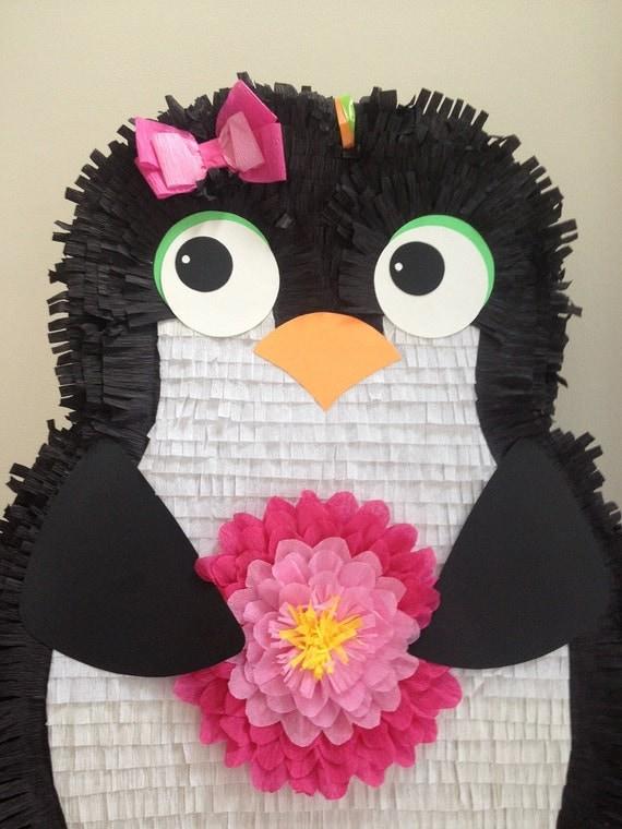 Girl Penguin Pinata.  Large Customizable Penguin Pinata.  Custom Penguin Pinata