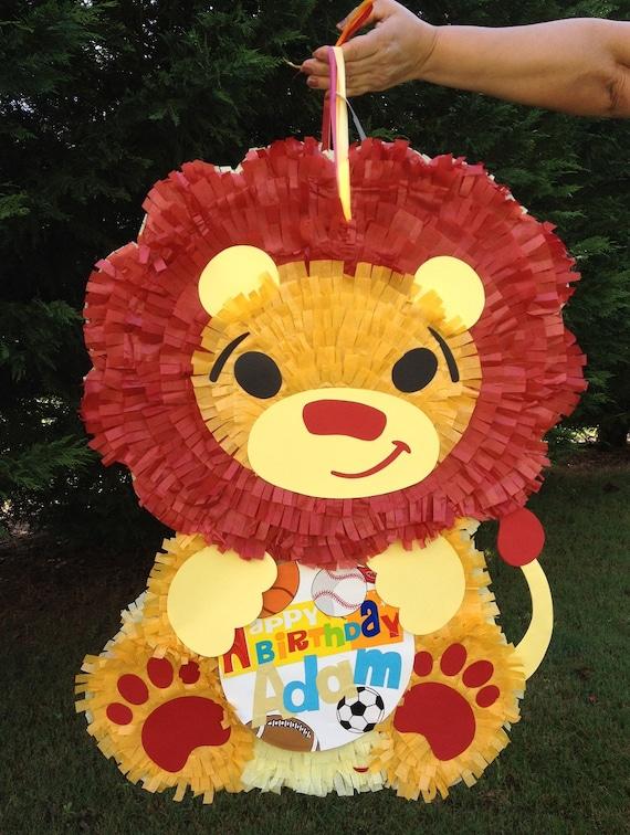 Lion Pinata.  Jungle Theme Pinata.  King of the Jungle.  Customizable Pinata