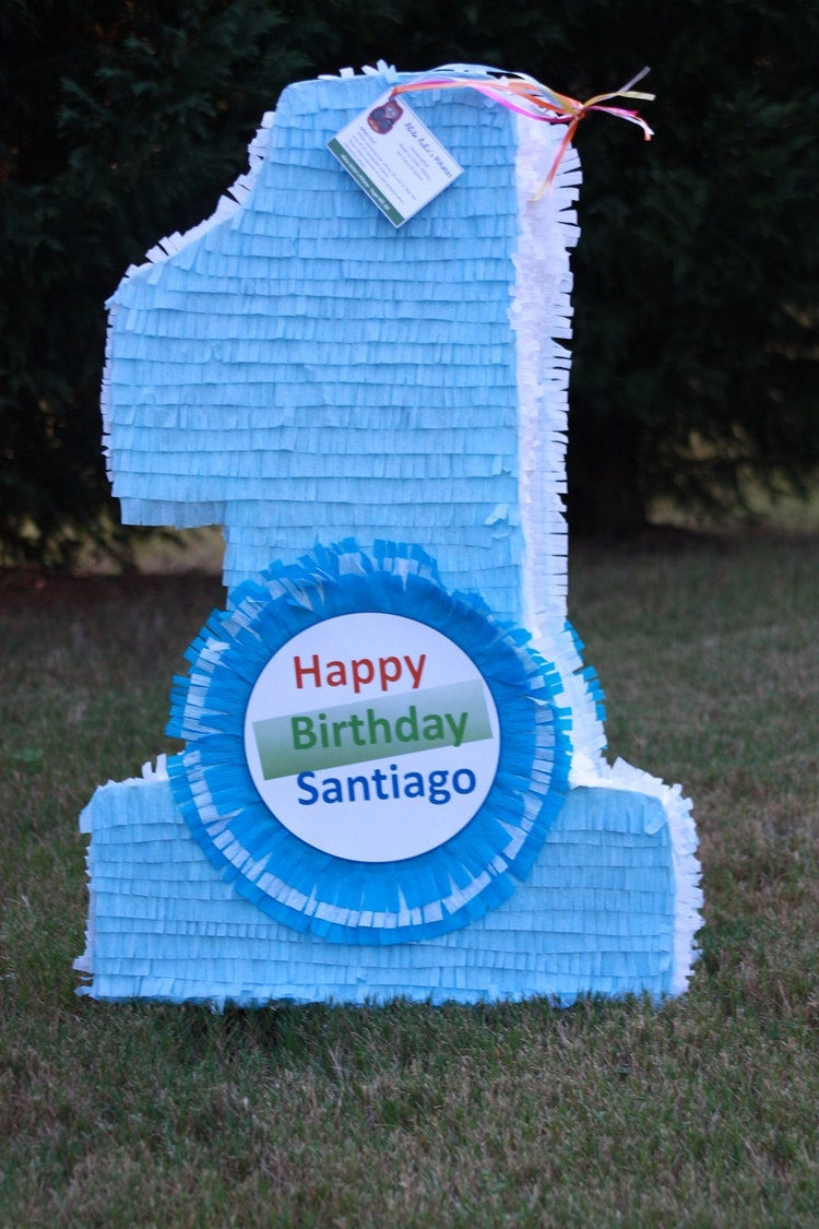Large Customizable Number One Pinata Solid Color By