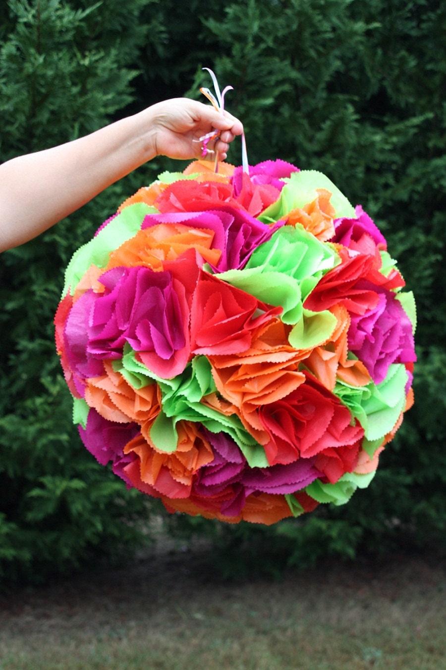 flower ball pinata  pomander  wedding decor  bachelorette