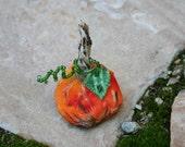 Harvest Pumpkin Folkart Pin - Hand Crafted Batik Autumn Pumpkin with Beaded Stem Brooch