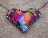 Whimsical Rainbow Heart Valentine Choker - Soft Sculpture Heart in Rainbow Colors with Hand Beading