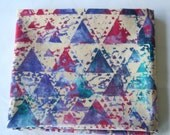 Batik Fat Quarter - Beige Geometric Triangles Batik with Purple, Fuschia and Turquoise
