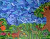 SALE - 20 PERCENT OFF List Price - Original Acrylic Painting on Stretched Canvas - Mexican Folkart Influence - Satisfaction