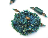 Fabric Flower and Beaded Necklace OOAK - Batik Soft Sculpture Flower Teal