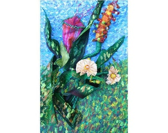 Original Acrylic Painting on Stretched Canvas w/ Mixed Media, Whimsical Art, Colorful Flowers Painting, 3-D Painting, Children's Room Decor