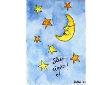 Original Art ACEO Matted - Original Watercolor Collectible - Yellow Orange Moon Stars Blue Sky